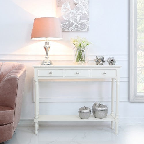 Value Medium White Delta 3 Drawer Console Table - Natural