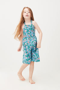 Overall Dress - Blue Flowers (LAST ONE 6/7y)