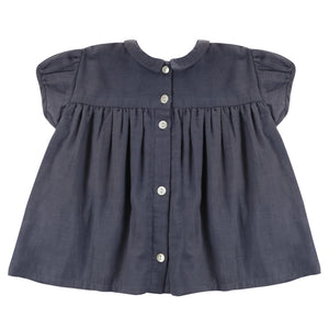 Juno Blouse - Ink Blue Muslin (LAST ONE 5/6Y)
