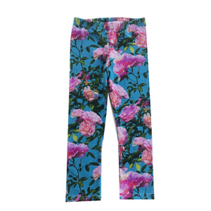 Pink Blue Flowers Leggings