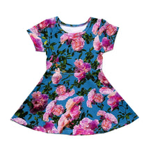 Load image into Gallery viewer, Pink Blue Flowers Skater Dress