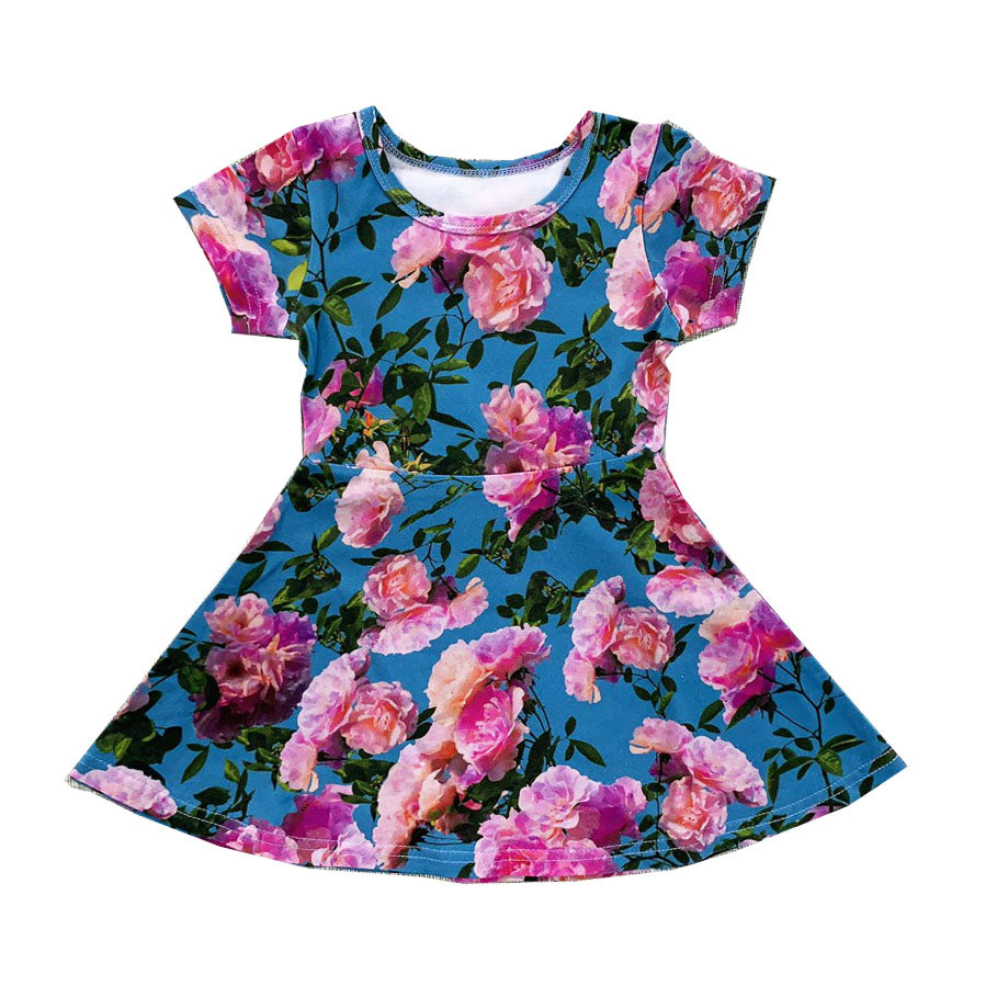 Pink Blue Flowers Skater Dress