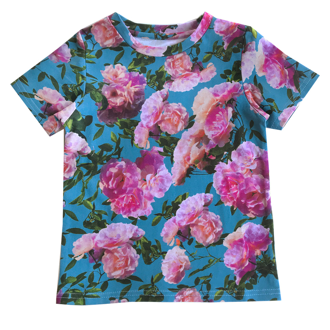 Pink Blue Flowers T-Shirt