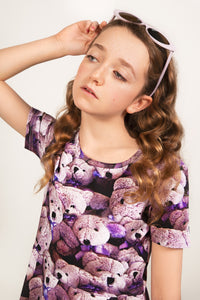 Purple Bears Skater Dress (LAST ONE 8Y)