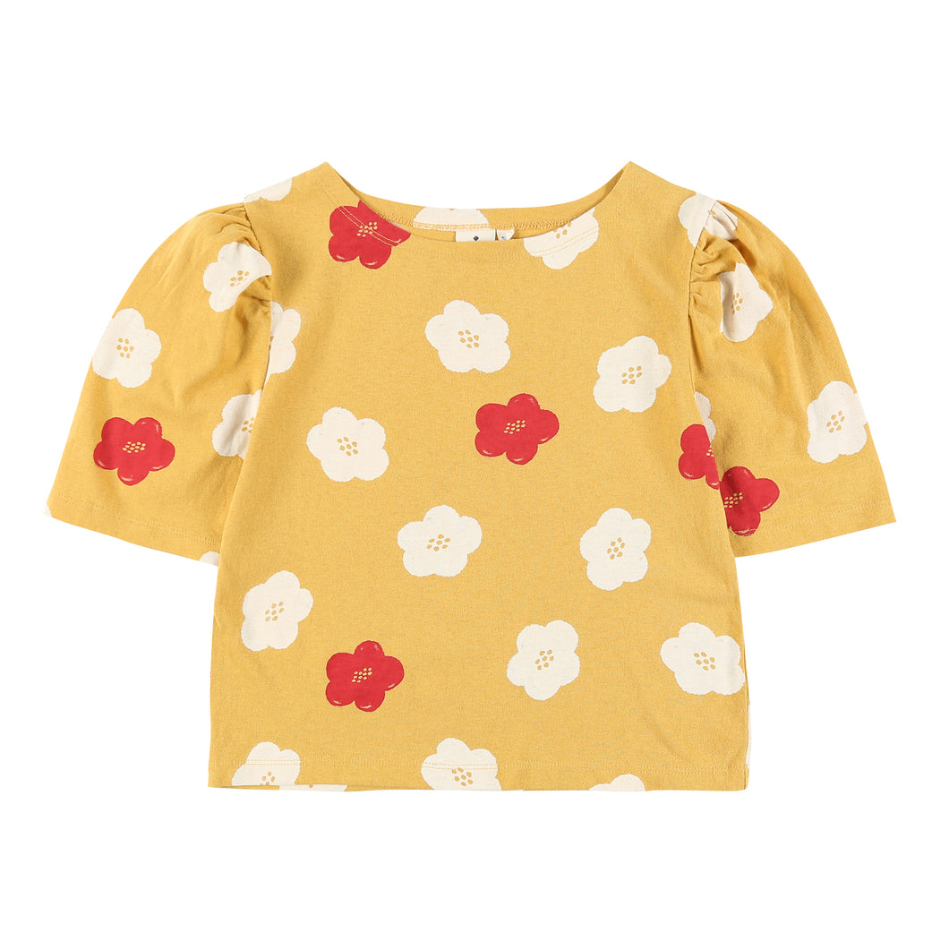 Flower Puff Sleeve T-Shirt