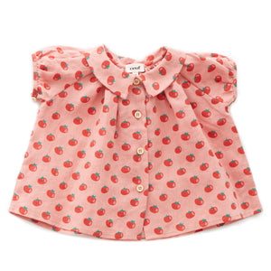 Short Sleeve Blouse - Tomato Print (LAST ONE 6Y)