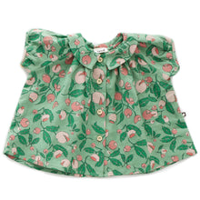 Load image into Gallery viewer, Short Sleeve Blouse - Green Flowers