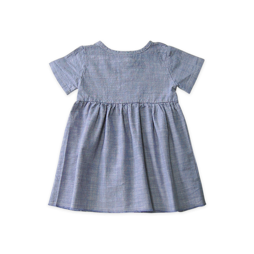 Short Sleeve Prairie Dress - Chambray (LAST ONE 6T)