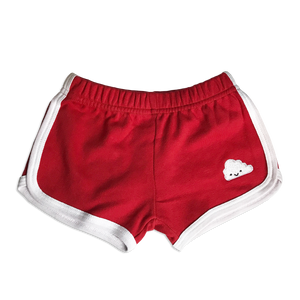 Kawaii Cloud Running Shorts - Red (LAST ONE 5-6y)