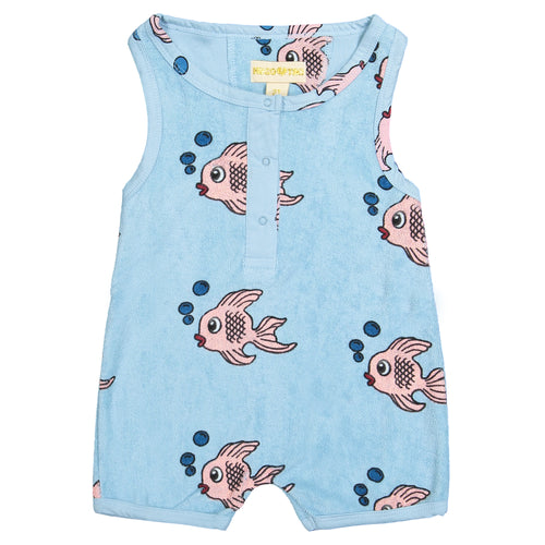 Blue Fish Terry Short Leg Romper