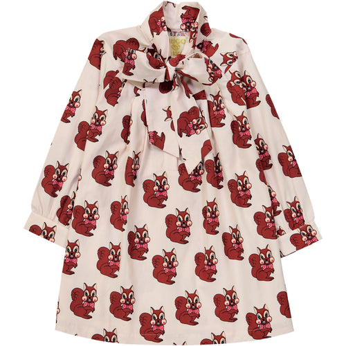 Brown Squirrel Bow Dress (LAST ONE 1T)