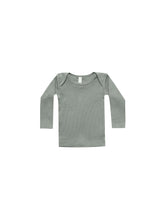 Load image into Gallery viewer, Ribbed Lap Tee - Eucalyptus (LAST ONE 3-6m)
