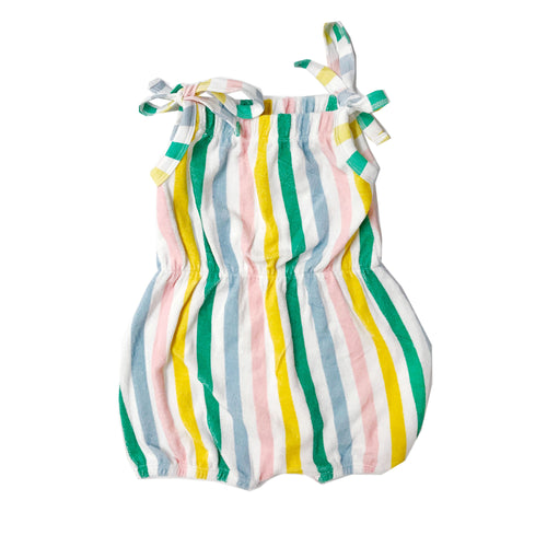 Pastel Stripes Shoulder-Tie Terry Romper (LAST ONE 12/18mo)