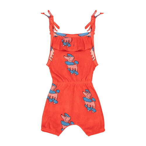 Red Poodle Terry Ruffle Playsuit