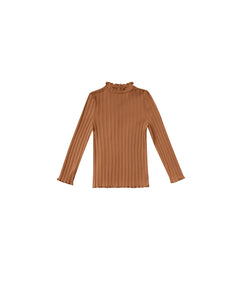 Ribbed Long Sleeve Tee - Cinnamon