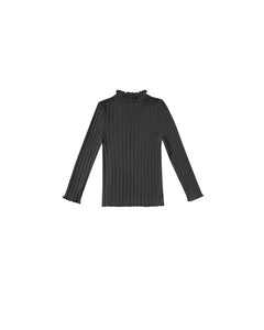 Ribbed Long Sleeve Tee - Vintage Black
