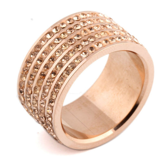 Rose Gold Plated CZ Paved Ring