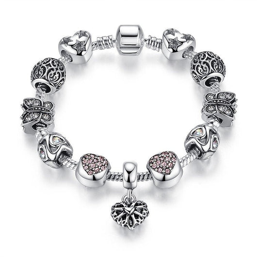 Luxury Silver Plated Crystal Charm Bracelet