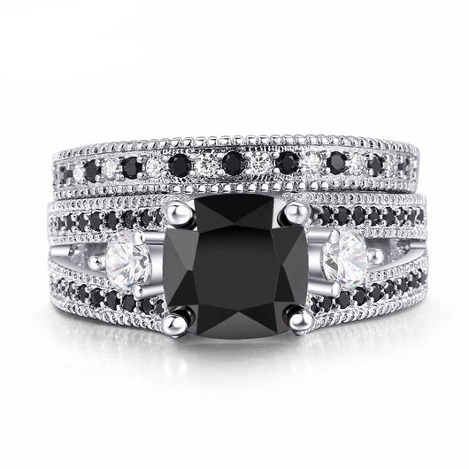 White Gold Black Stone Ring Set