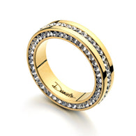 Set of Rhinestone Paved Gold Plated Wedding Ring
