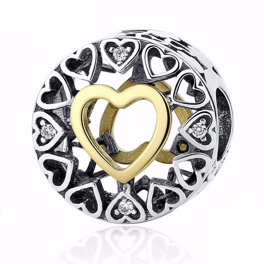 925 Sterling Silver Heart Charm Bead