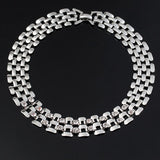 Silver Plated Link Chain Choker Necklace