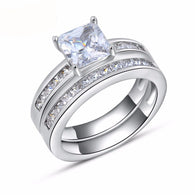Cubic Zirconia, Platinum Plated Engagement Ring