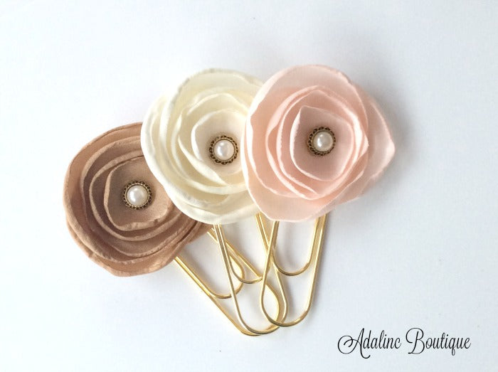Gold Jumbo Paperclips with Flowers (3)