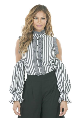 Cold Shoulder Stripe Blouse - Blissfully Yours Tampa