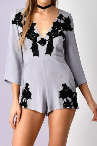 Lace Trim Romper - Blissfully Yours Tampa