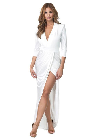 Deep V-Neck Dress - Blissfully Yours Tampa