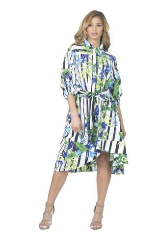 Tacking Sleeve Print Dress - Blissfully Yours Tampa