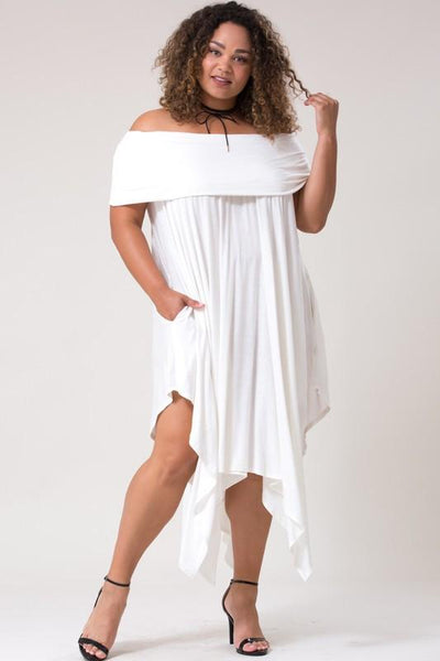 Off Shoulder Handkerchief Hem Dress with Pockets - Blissfully Yours Tampa