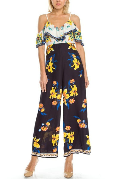 Floral Print Cold Shoulder Jumpsuit