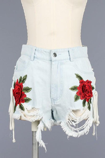 High Waist Distressed Shorts