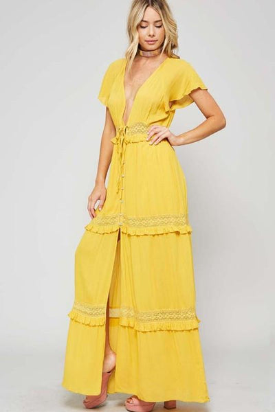 Maxi Dress with Plunge Neck Line - Blissfully Yours Tampa