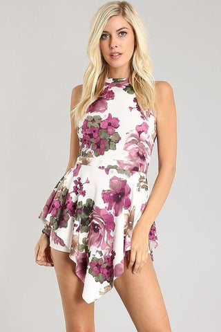 Floral Print Halter Romper - Blissfully Yours Tampa