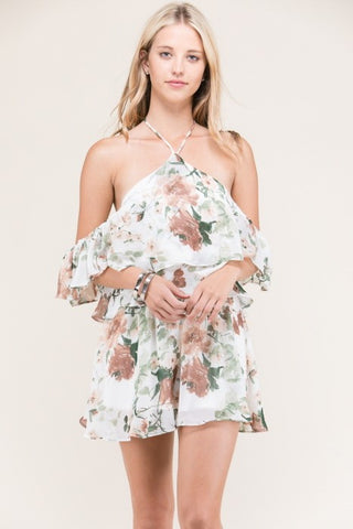 Cold Shoulder Floral Romper - Blissfully Yours Tampa