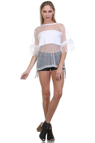 """Unapologetic"" Mesh Embroidered Top - Blissfully Yours Tampa"