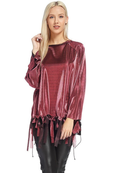 Raglan sleeve silky top - Blissfully Yours Tampa