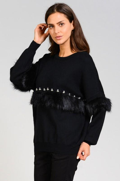 Faux Fur & Pearl Detail Knit Sweater - Blissfully Yours Tampa