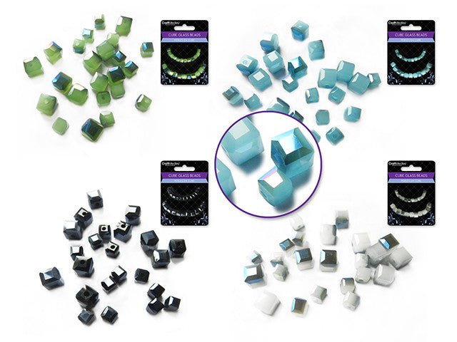 Glass Beads : Krystal Cubes : Two tone : 4mm&6mm - Yarnia Craft Closet