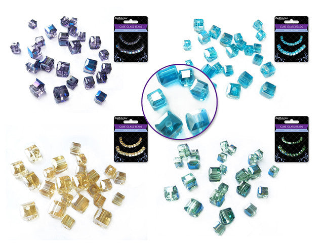 Glass Beads : Krystal Cubes : Cyrstalline : 4mm&6mm - Yarnia Craft Closet
