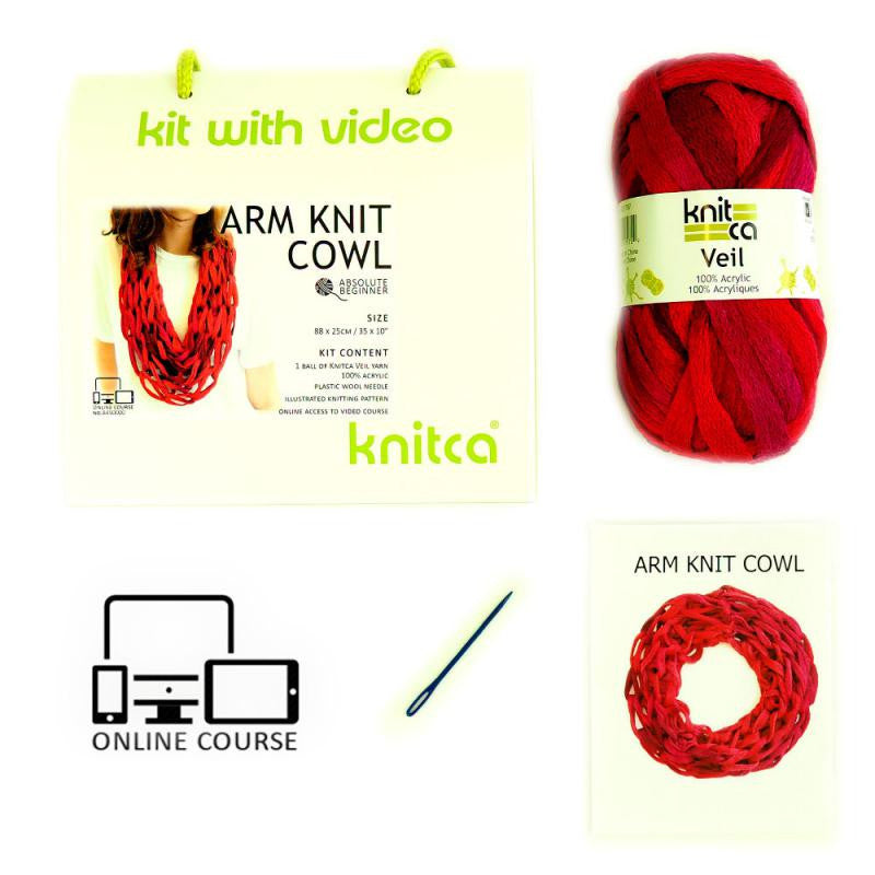 Arm Knit Cowl : Mulberry : Learn to knit kit with video course for absolute beginners - Yarnia Craft Closet