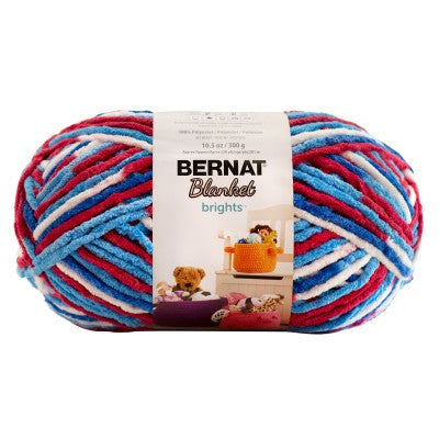 Bernat Blanket Brights - Red, White, and Boom - Yarnia Craft Closet