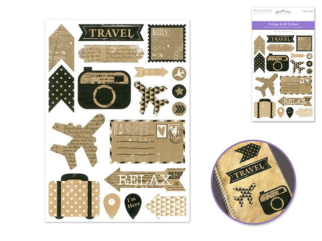 Paper Craft Sticker : Kraft Vintage - Yarnia Craft Closet