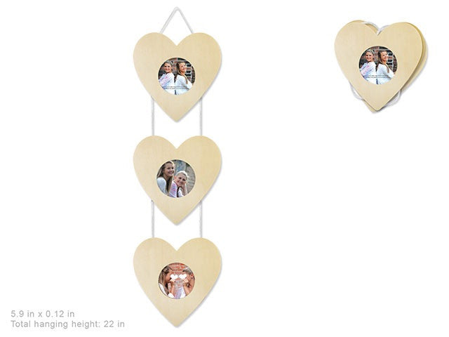 3 window Hanging Photo Frame : Heart