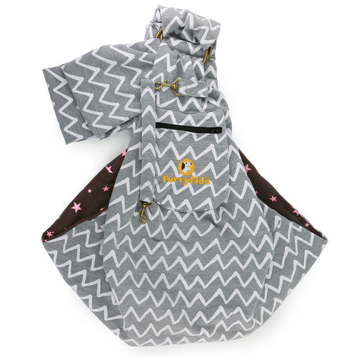 FurryFido Chevron Grey Adjustable Pocket Pet Sling