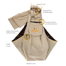 FurryFido Beige Adjustable Pocket Pet Sling