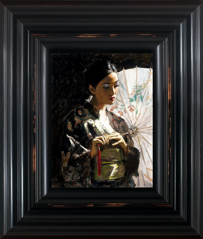 Michiko with White Umbrella Hair Up by Fabian Perez